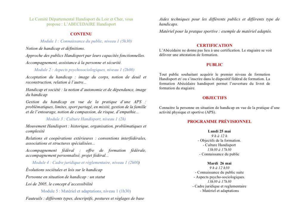 Formation Abecedaire Au Mois De Mai 2020 Comite Departemental Handisport 41